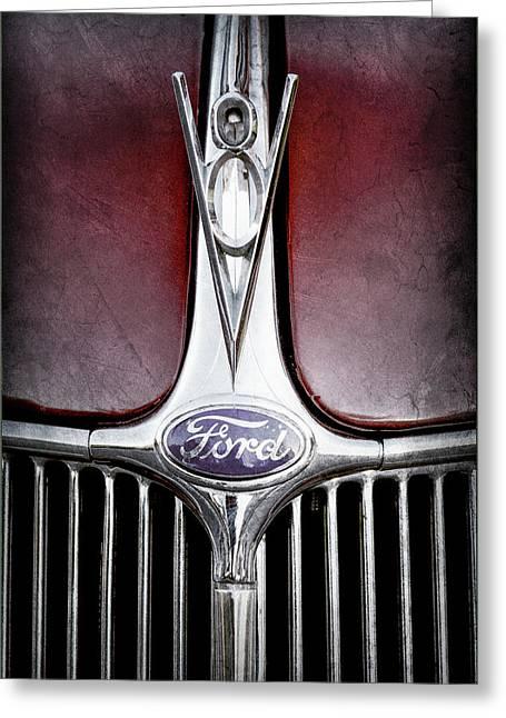 1936 Ford Phaeton V8 Hood Ornament - Emblem -0255ac Greeting Card by Jill Reger