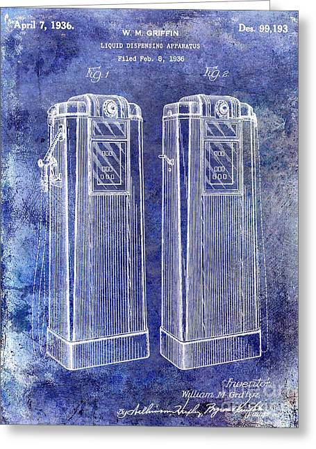 Gas Pumps Greeting Cards - 1936 Gas Pump Patent Blue Greeting Card by Jon Neidert