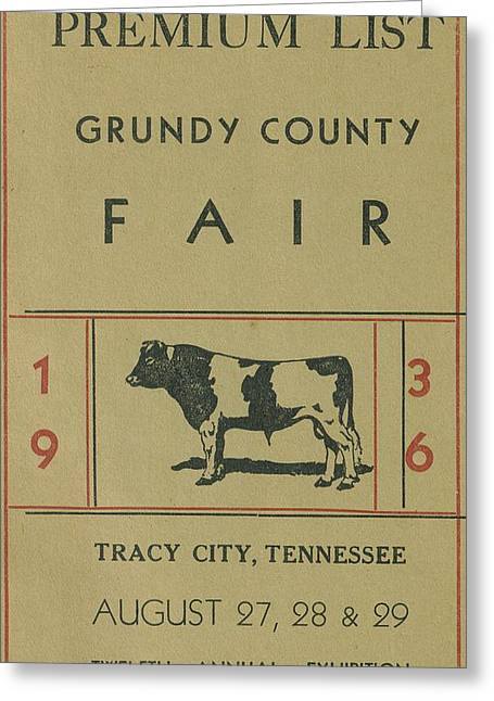 Tennessee Farm Drawings Greeting Cards - 1936 Grundy County Fair Catalog Cover Greeting Card by Cody Cookston