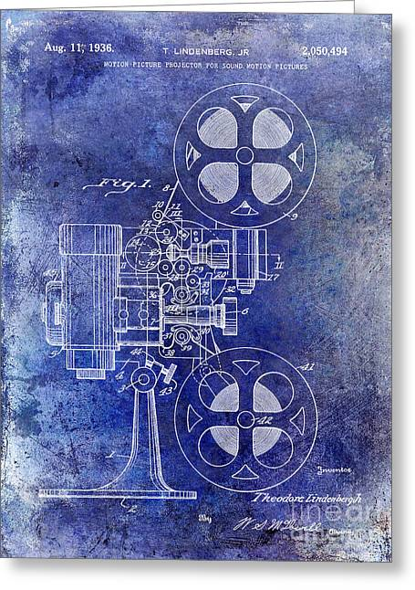 1936 Movie Projector Patent Blue Greeting Card by Jon Neidert