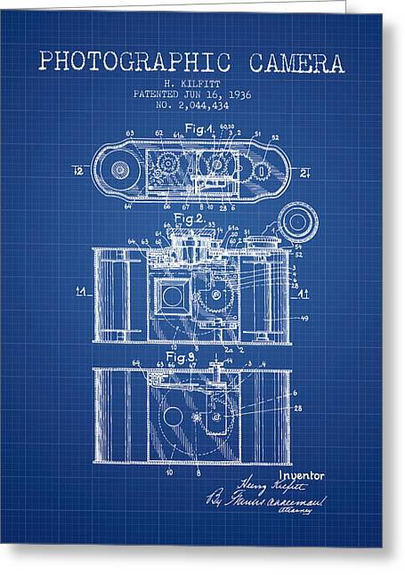 Exposure Drawings Greeting Cards - 1936 Photographic camera Patent - blueprint Greeting Card by Aged Pixel