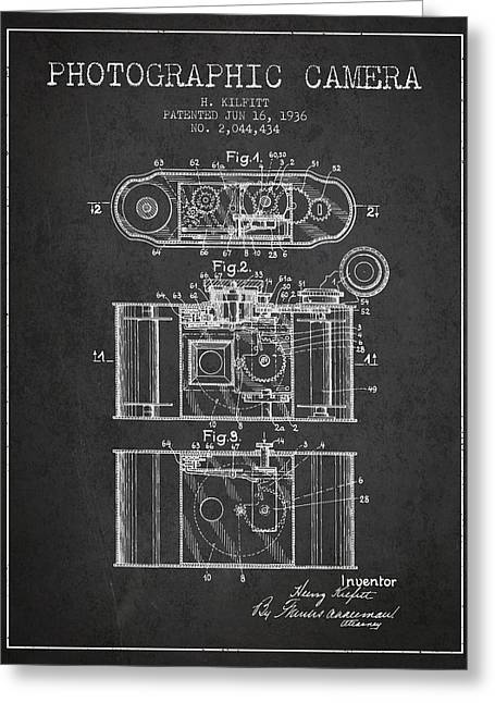 Exposure Drawings Greeting Cards - 1936 Photographic camera Patent - charcoal Greeting Card by Aged Pixel
