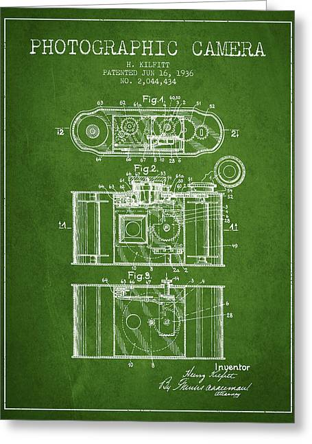 Exposure Drawings Greeting Cards - 1936 Photographic camera Patent - green Greeting Card by Aged Pixel