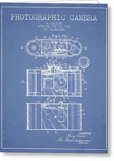 Exposure Drawings Greeting Cards - 1936 Photographic camera Patent - light blue Greeting Card by Aged Pixel