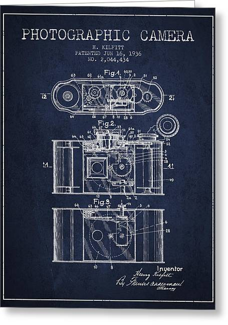 Exposure Drawings Greeting Cards - 1936 Photographic camera Patent - navy blue Greeting Card by Aged Pixel