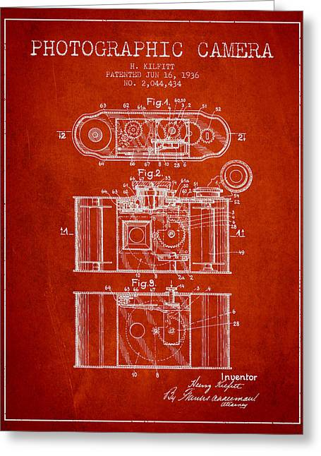 Exposure Drawings Greeting Cards - 1936 Photographic camera Patent - red Greeting Card by Aged Pixel
