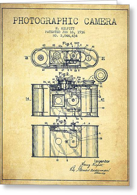 Exposure Drawings Greeting Cards - 1936 Photographic camera Patent - vintage Greeting Card by Aged Pixel