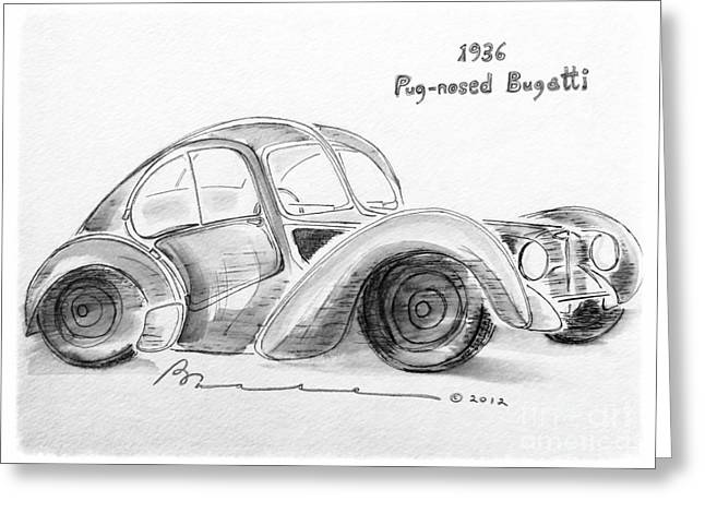 Bred Mixed Media Greeting Cards - 1936 Pug-nosed Bugatti Greeting Card by Barbara Chase