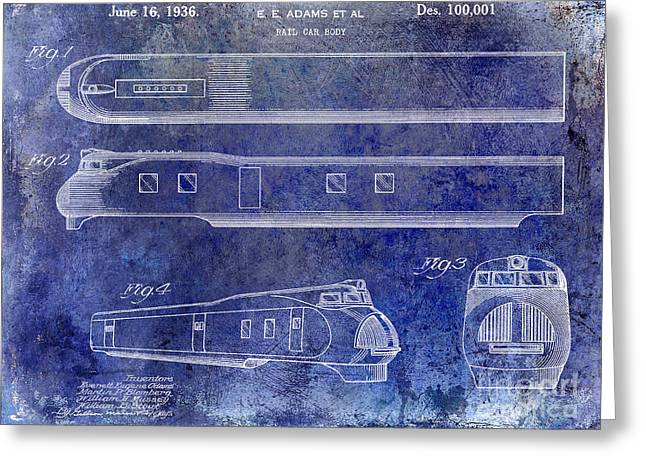 Train Car Greeting Cards - 1936 Train Patent Blue Greeting Card by Jon Neidert
