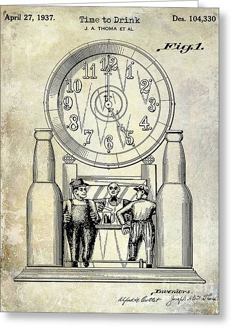1937 Beer Clock Patent Greeting Card by Jon Neidert