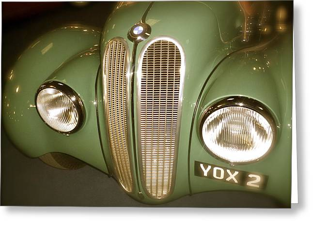 Bmw Racing Classic Bmw Greeting Cards - 1937 BMW 328 Front Detail Greeting Card by John Colley