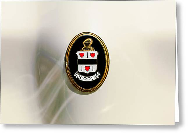 Famous Photographer Greeting Cards - 1937 Cord 812 Sc Phaeton Emblem -1203c1 Greeting Card by Jill Reger