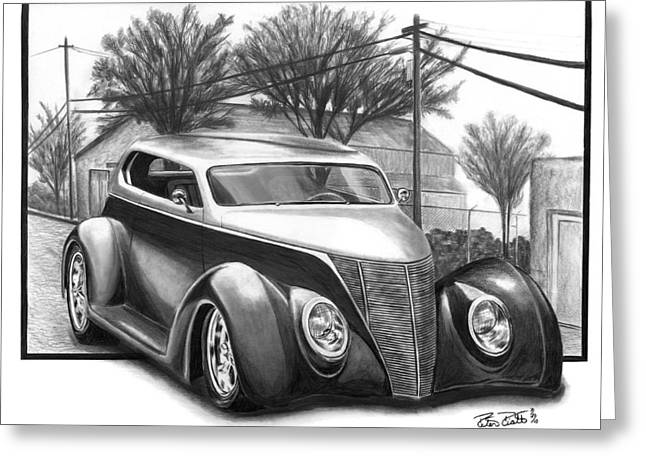Charcoal Car Greeting Cards - 1937 Ford Sedan Greeting Card by Peter Piatt
