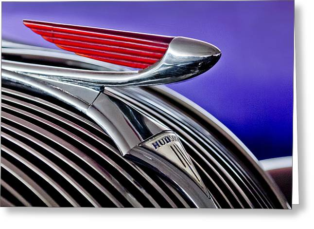 Collector Hood Ornament Greeting Cards - 1937 Hudson Terraplane Sedan Hood Ornament 2 Greeting Card by Jill Reger