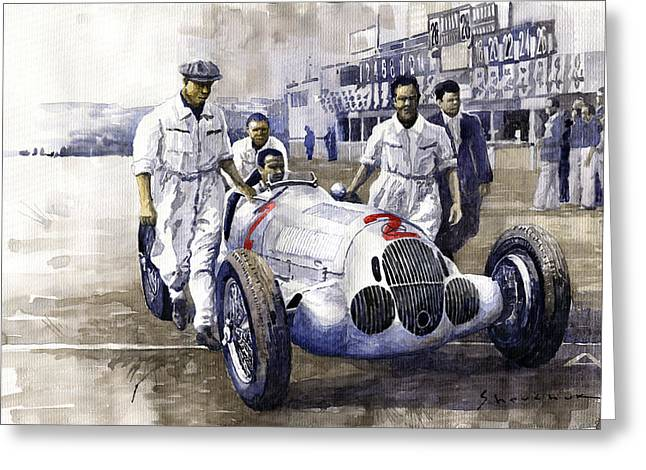 Rudolf Greeting Cards - 1937 Italian GP Mercedes Benz W125 Rudolf Caracciola Greeting Card by Yuriy Shevchuk