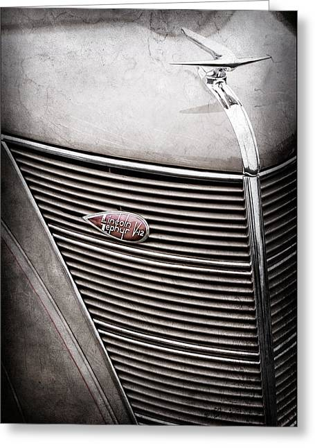 1937 Lincoln-zephyr Coupe Sedan Grille Emblem - Hood Ornament -0100ac Greeting Card by Jill Reger
