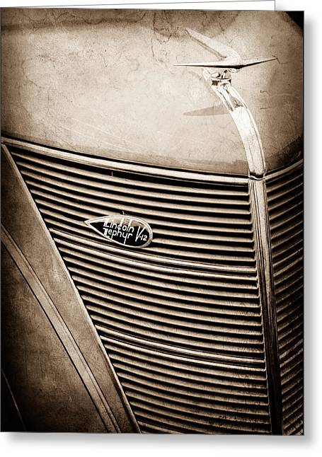 1937 Lincoln-zephyr Coupe Sedan Grille Emblem - Hood Ornament -0100s Greeting Card by Jill Reger