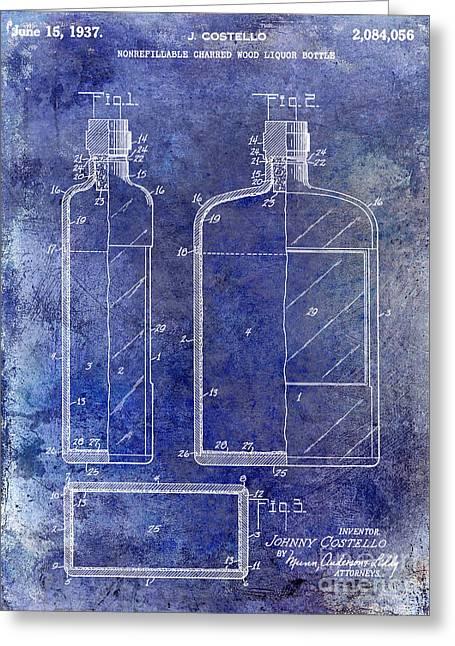 Mixed Drink Greeting Cards - 1937 Liquor Bottle Patent Blue Greeting Card by Jon Neidert