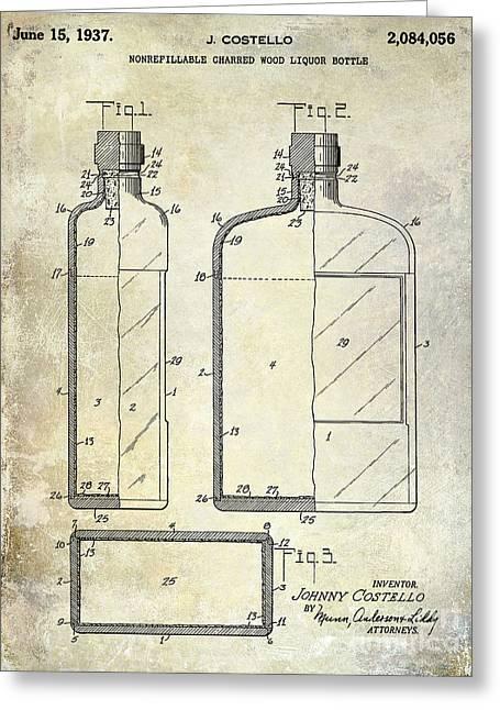 Mixed Drink Greeting Cards - 1937 Liquor Bottle Patent  Greeting Card by Jon Neidert