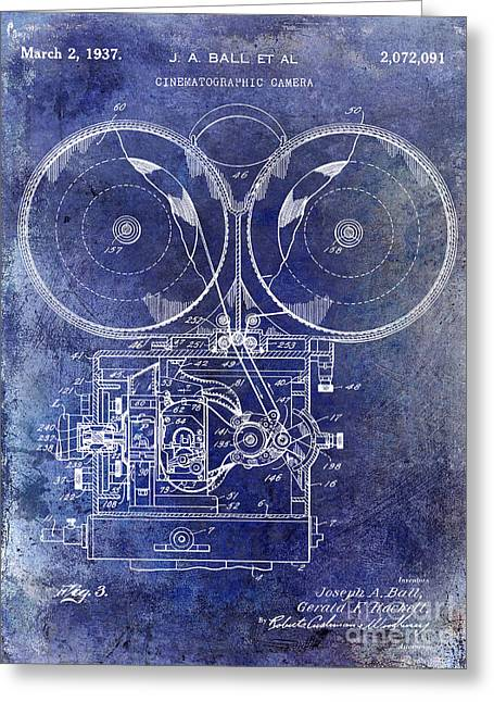 1937 Motion Picture Camera Patent Blue Greeting Card by Jon Neidert