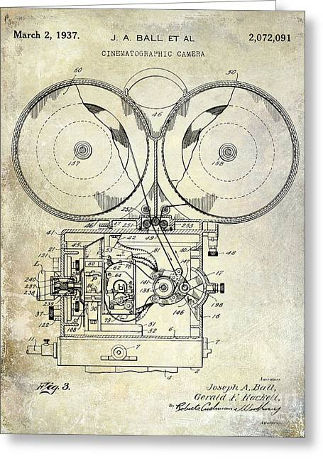 1937 Motion Picture Camera Patent Greeting Card by Jon Neidert