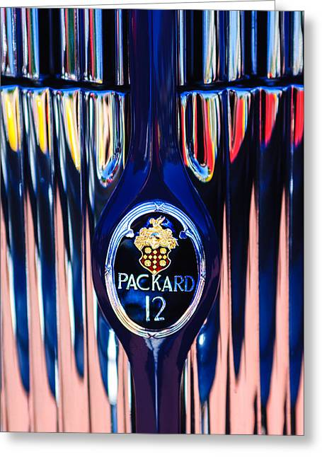 1937 Packard Twelve Convertible Sedan Emblem -0373c Greeting Card by Jill Reger