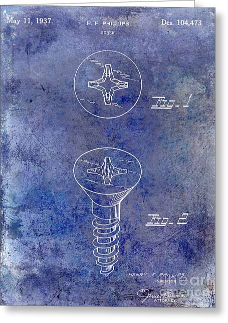 Screwing Greeting Cards - 1937 Screw Patent blue Greeting Card by Jon Neidert