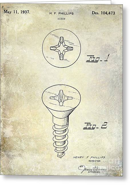 Screwing Greeting Cards - 1937 Screw Patent  Greeting Card by Jon Neidert
