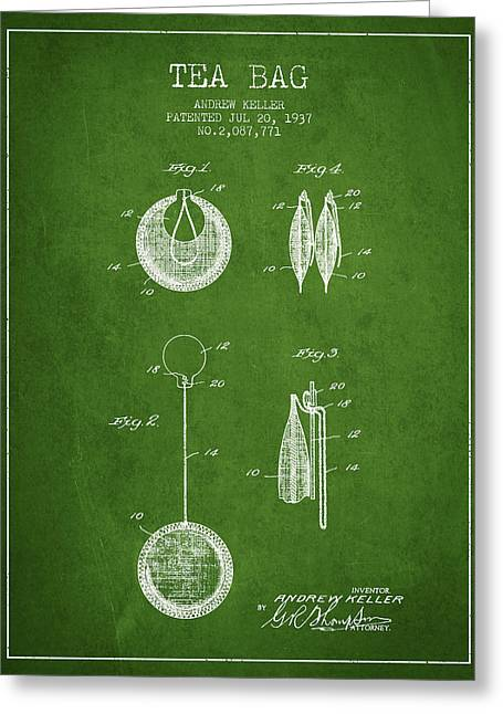 Tea House Greeting Cards - 1937 Tea Bag patent 02 - green Greeting Card by Aged Pixel