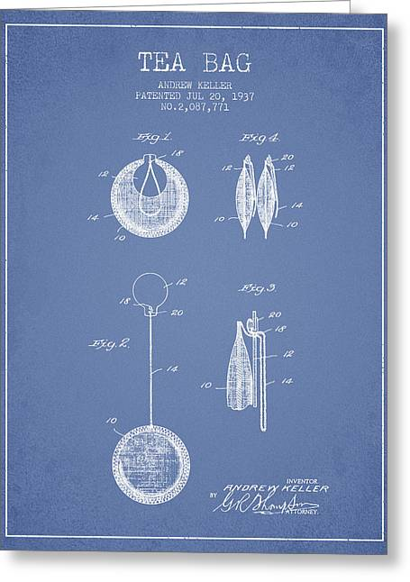 Tea House Greeting Cards - 1937 Tea Bag patent 02 - light blue Greeting Card by Aged Pixel