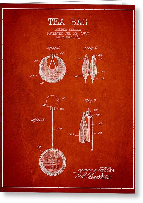 Tea House Greeting Cards - 1937 Tea Bag patent 02 - red Greeting Card by Aged Pixel