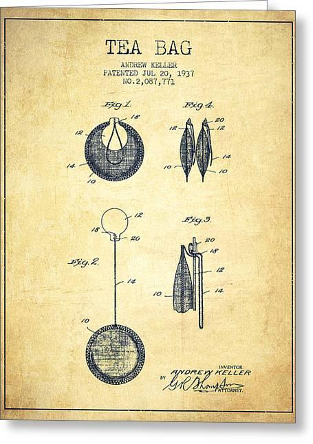 Tea Bag Greeting Cards - 1937 Tea Bag patent 02 - vintage Greeting Card by Aged Pixel
