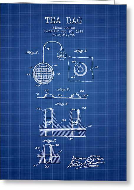 Tea House Greeting Cards - 1937 Tea Bag patent - blueprint Greeting Card by Aged Pixel