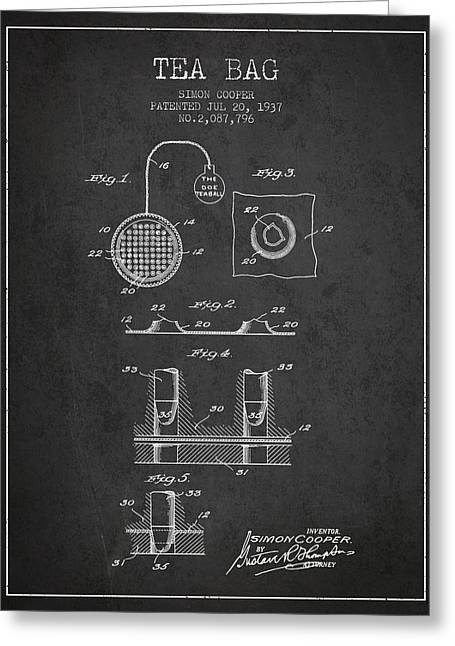 Tea House Greeting Cards - 1937 Tea Bag patent - charcoal Greeting Card by Aged Pixel