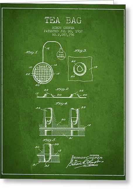 Tea House Greeting Cards - 1937 Tea Bag patent - green Greeting Card by Aged Pixel