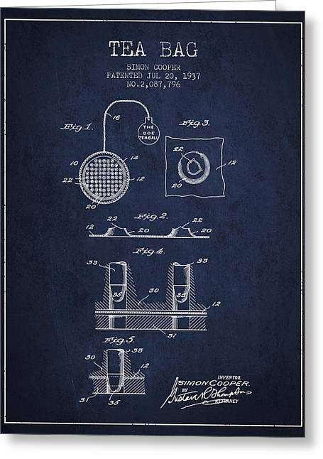 Tea House Greeting Cards - 1937 Tea Bag patent - navy blue Greeting Card by Aged Pixel