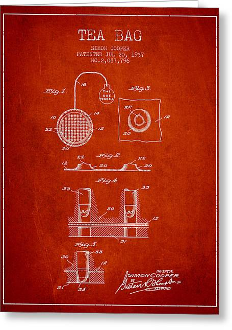 Tea House Greeting Cards - 1937 Tea Bag patent - red Greeting Card by Aged Pixel