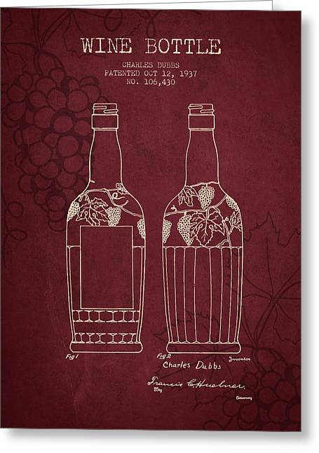 Wineries Drawings Greeting Cards - 1937 Wine Bottle patent - Red Wine Greeting Card by Aged Pixel