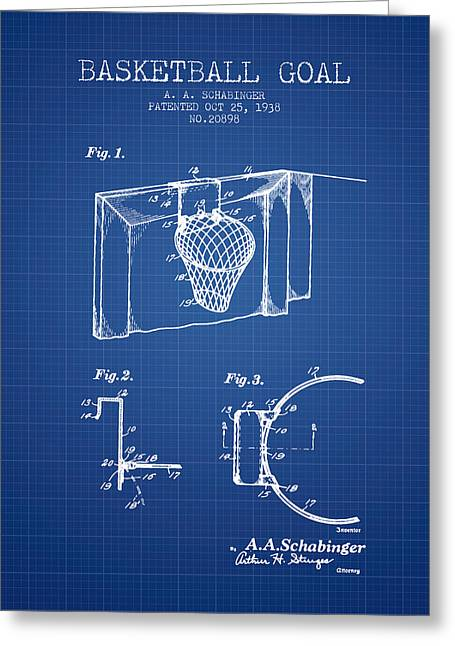National Basketball Association Greeting Cards - 1938 Basketball Goal Patent - Blueprint Greeting Card by Aged Pixel