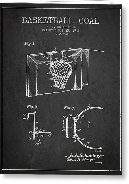 Basketball Drawings Greeting Cards - 1938 Basketball Goal Patent - Charcoal Greeting Card by Aged Pixel