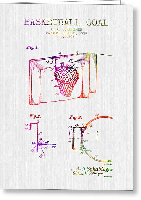Basketball Drawings Greeting Cards - 1938 Basketball Goal Patent - Color Greeting Card by Aged Pixel