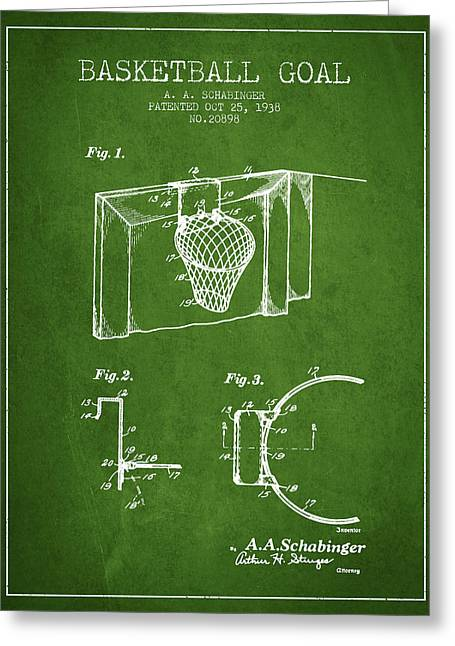 Basketball Drawings Greeting Cards - 1938 Basketball Goal Patent - Green Greeting Card by Aged Pixel