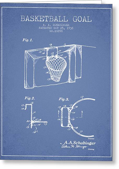 Basketballs Greeting Cards - 1938 Basketball Goal Patent - Light Blue Greeting Card by Aged Pixel