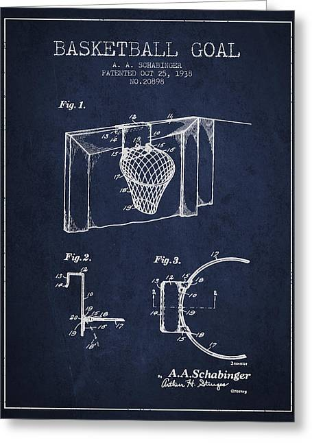 Basketballs Greeting Cards - 1938 Basketball Goal Patent - Navy Blue Greeting Card by Aged Pixel