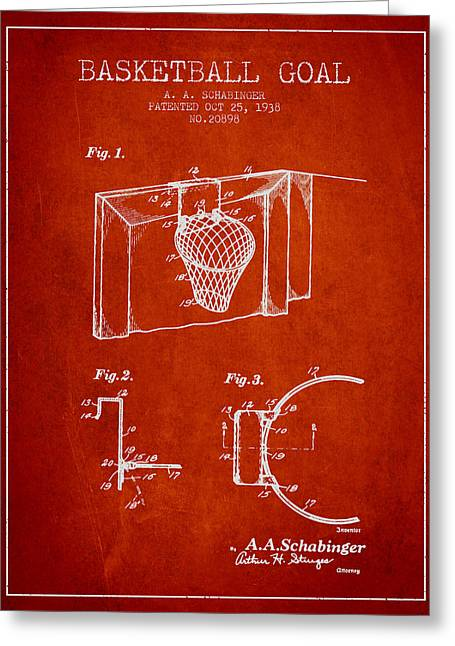 Hoops Greeting Cards - 1938 Basketball Goal Patent - Red Greeting Card by Aged Pixel
