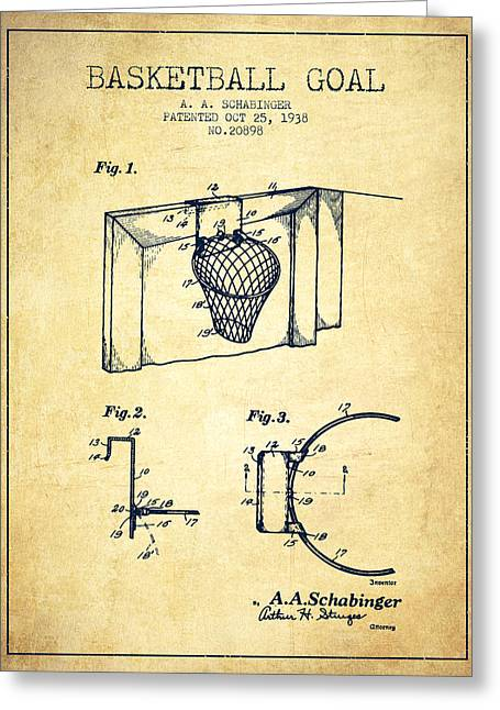 Basketball Drawings Greeting Cards - 1938 Basketball Goal Patent - Vintage Greeting Card by Aged Pixel