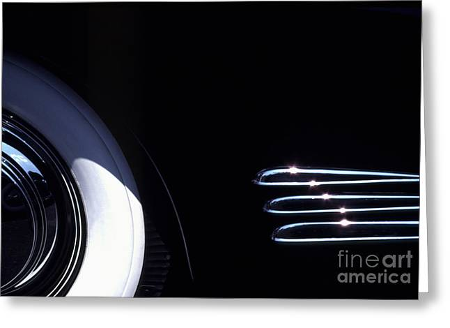 1938 Cadillac Limo with Chrome Strips Greeting Card by Anna Lisa Yoder