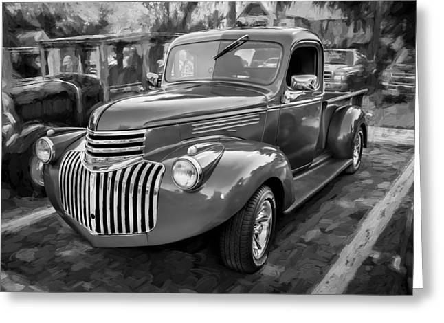 Pickup Truck Door Greeting Cards - 1938 Chevrolet Pick Up Truck Painted BW Greeting Card by Rich Franco