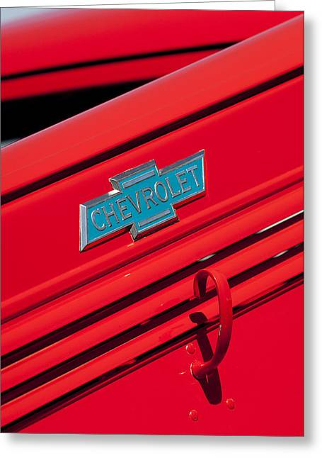 Classic Pickup Truck Greeting Cards - 1938 Chevrolet Pickup Truck Emblem Greeting Card by Jill Reger