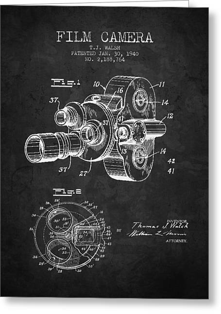 Camera Greeting Cards - 1938 Film Camera Patent - Charcoal - NB Greeting Card by Aged Pixel